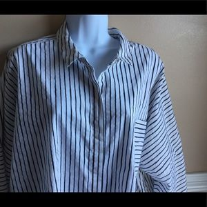 Investments II drop shoulder striped blouse.
